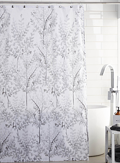 Silver leaves shower curtain