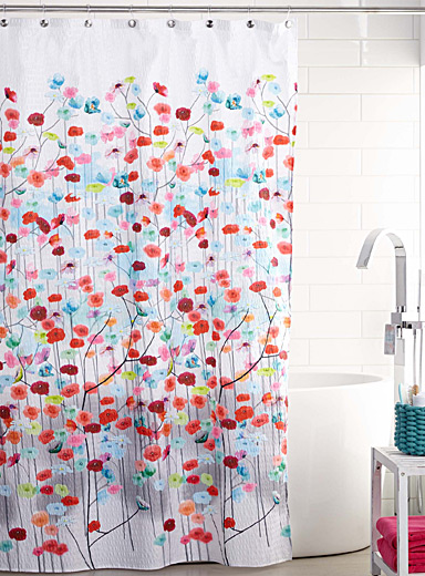 Multicolour flowers shower curtain