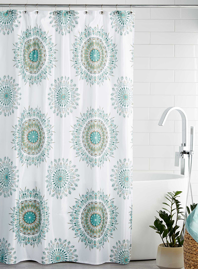 Feather medallion shower curtain - Fabric - Patterned White