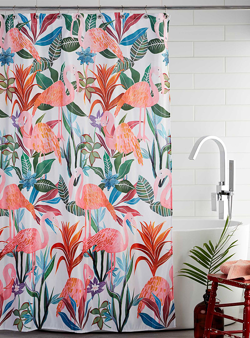 Tropical flamingos shower curtain - Fabric - Assorted