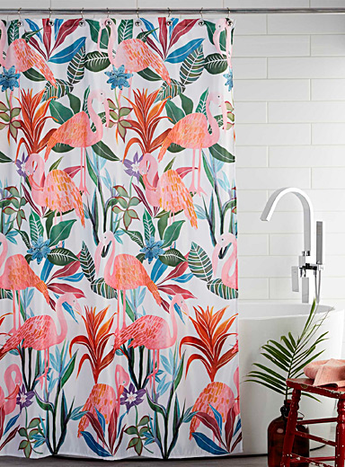 Simons Maison Assorted Tropical flamingos shower curtain