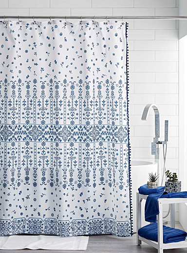 Simons Maison Patterned White Portuguese garden shower curtain