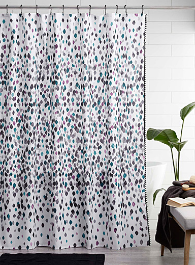 Painterly petal shower curtain