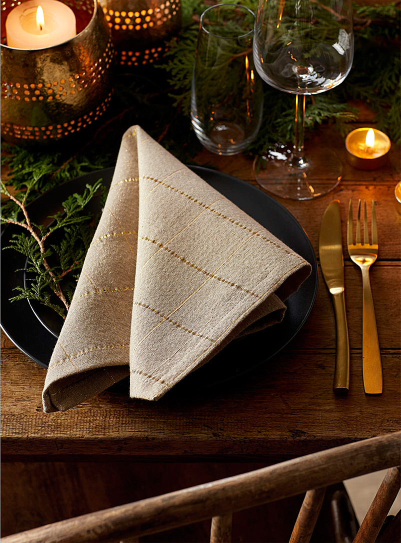 Simons Maison Assorted Golden check woven napkin