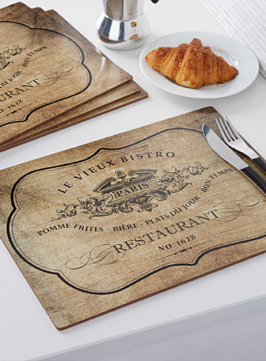 Vieux bistro laminated cork place mats  Set of 4