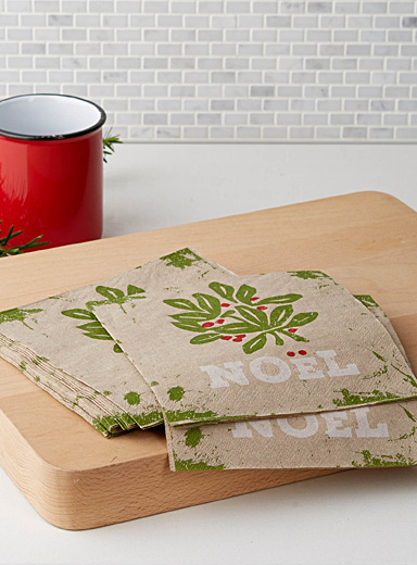 Holly leaf paper napkins  33 cm x 33 cm. Pack of 20.