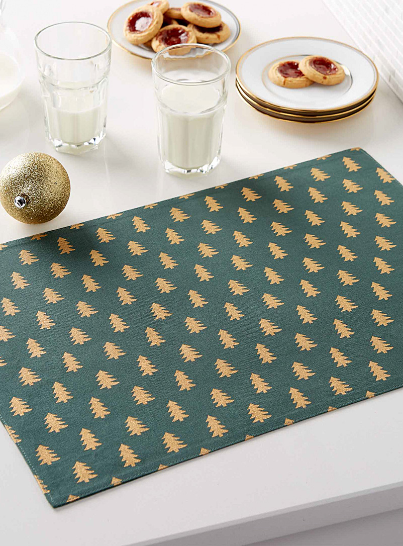 Simons Maison Patterned Green Golden forest pure cotton placemat