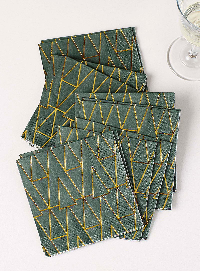 Simons Maison Patterned Green Golden tree paper napkins  25 x 25 cm. Pack of 20.