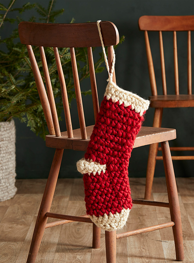 Simons Maison Red Artisanal knit Christmas stocking