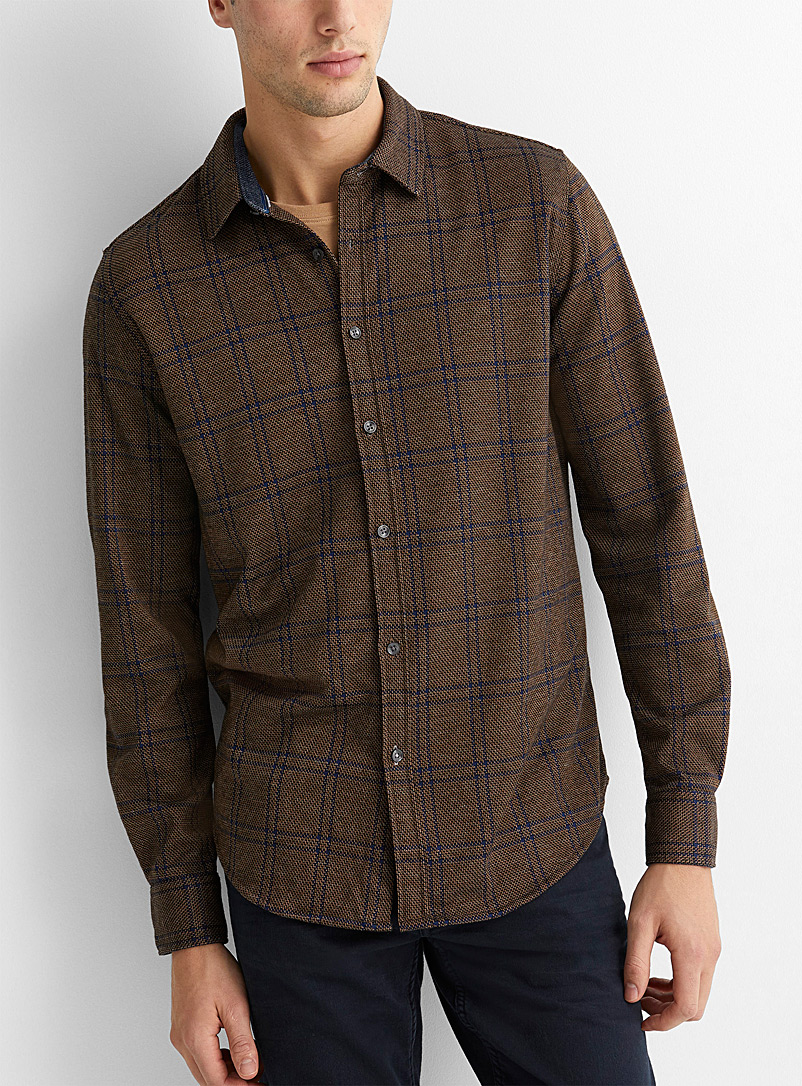 Point Zero Brown Heritage check knit shirt for men