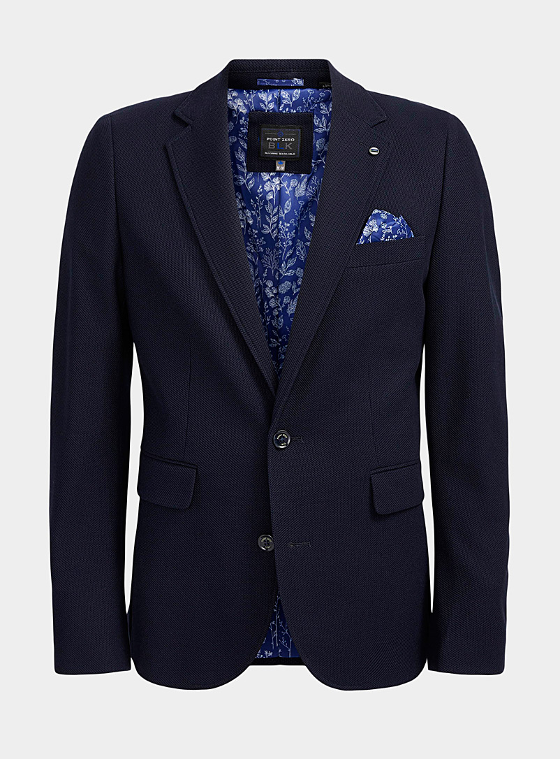 Point Zero Marine Blue Stretch piqué knit jacket  Regular fit for men