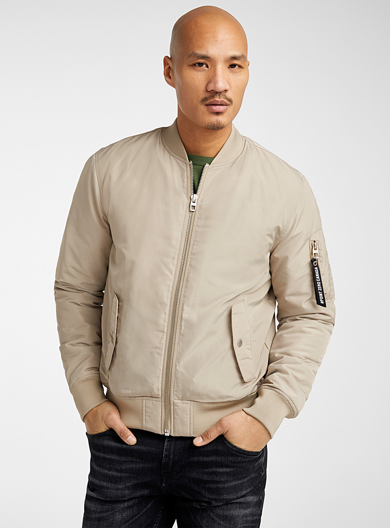Point Zero Light Brown Performance nylon bomber jacket for men