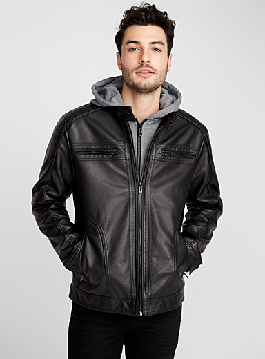 Hooded faux-leather biker jacket