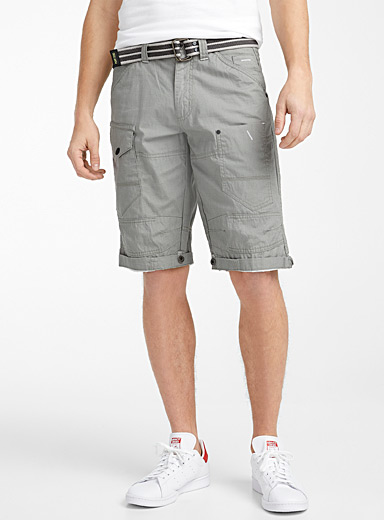 Point Zero Grey Ripstop cargo Bermudas for men