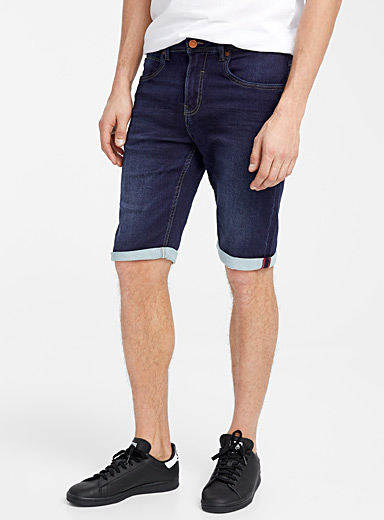 Point Zero Dark Blue Indigo denim terry Bermudas for men