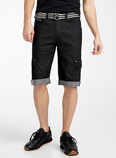 Point Zero Black Chambray cargo capris for men