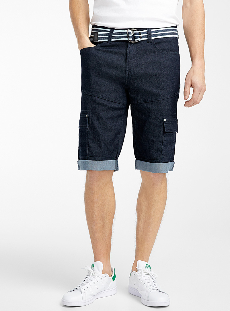 Point Zero Marine Blue Chambray cargo capris for men