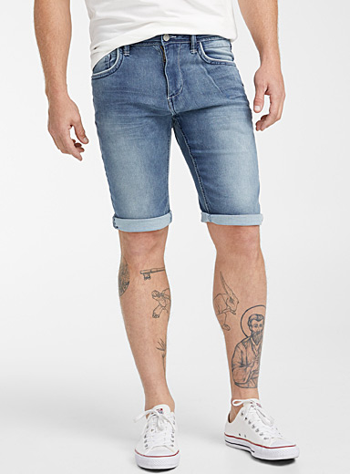 Faded denim terry Bermudas