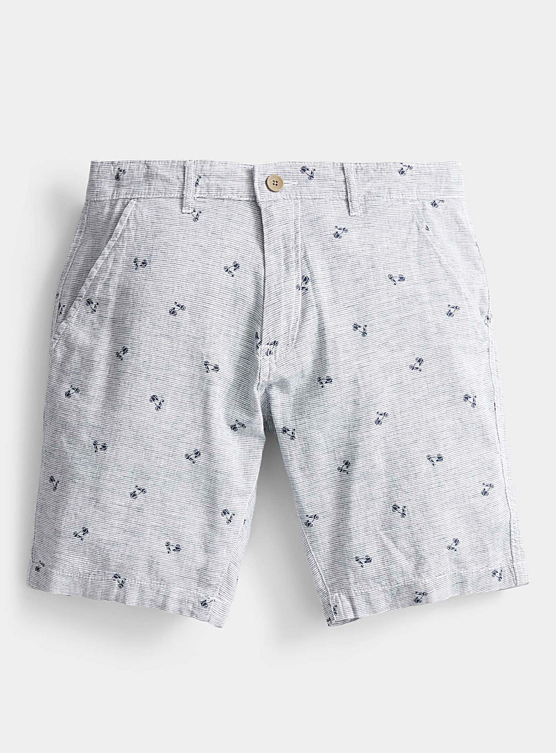 Point Zero Patterned Blue Striped patterned Bermudas for men