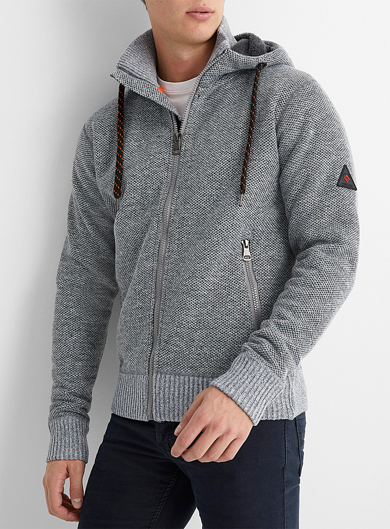 Plush-lined heathered hooded cardigan