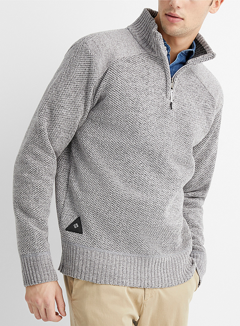 Heathered chenille knit half-zip