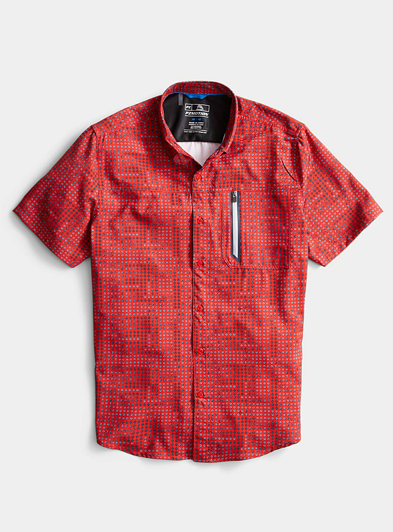 Point Zero Red Mini-pattern PZ Motion shirt for men
