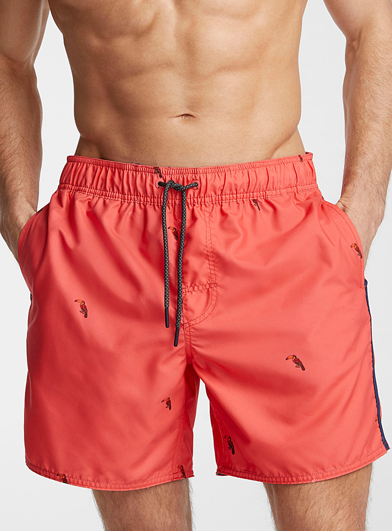 Point Zero: Le maillot short hydroréactif pop toucans Rouge pâle pour homme