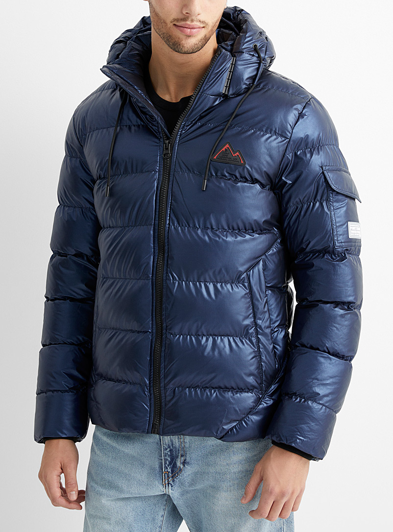 Point Zero Dark Blue Hunter metallic puffer jacket for men