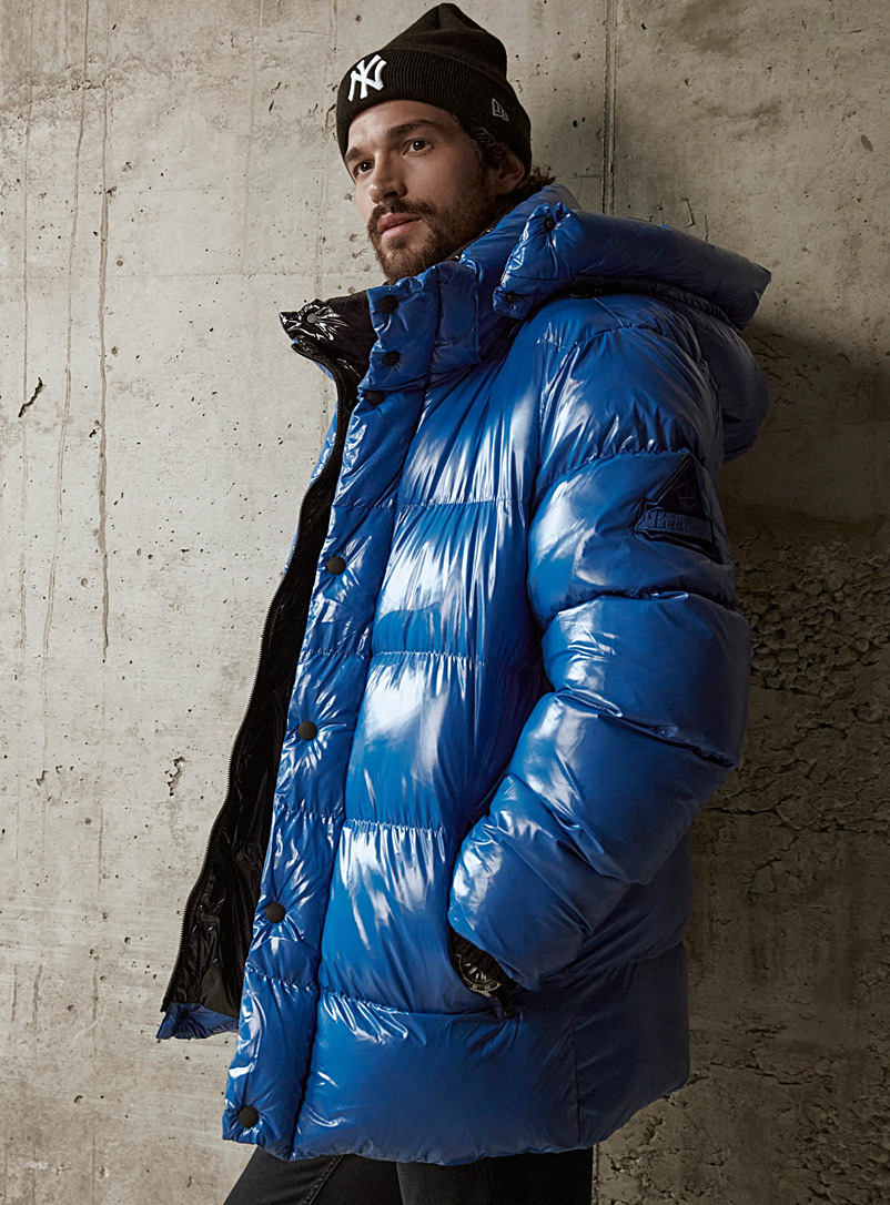 Point Zero Sapphire Blue Anthony shiny eco-friendly puffer jacket for men