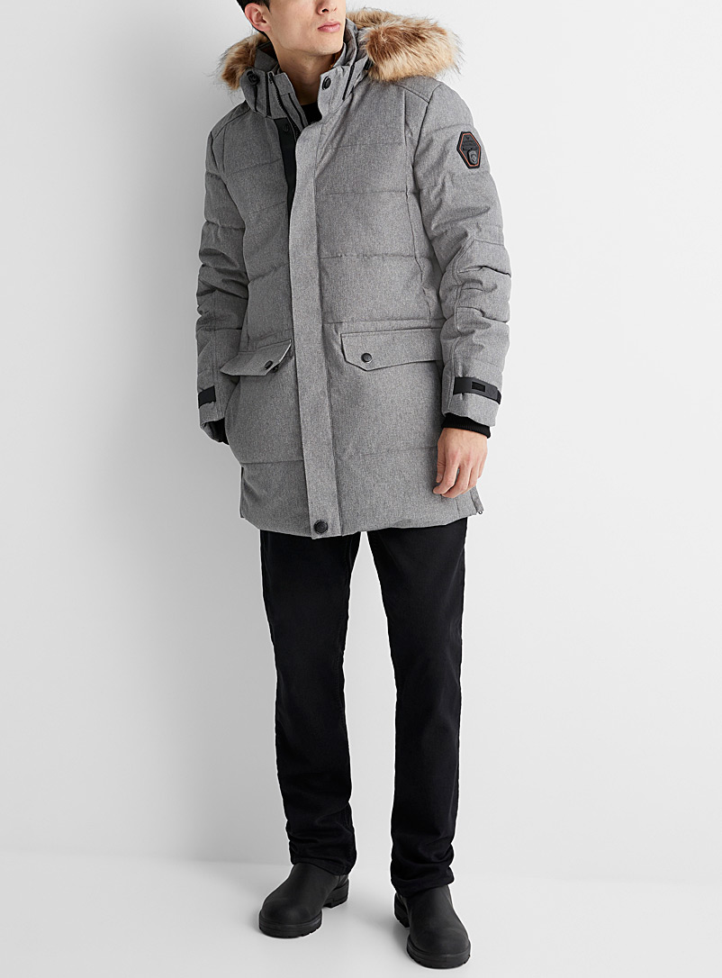 Point Zero Grey Long heathered quilted parka for men