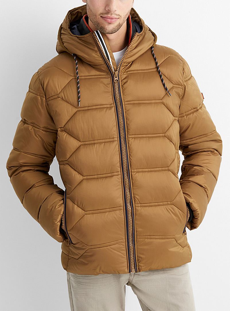 Point Zero Light Brown Geometric puffer jacket for men