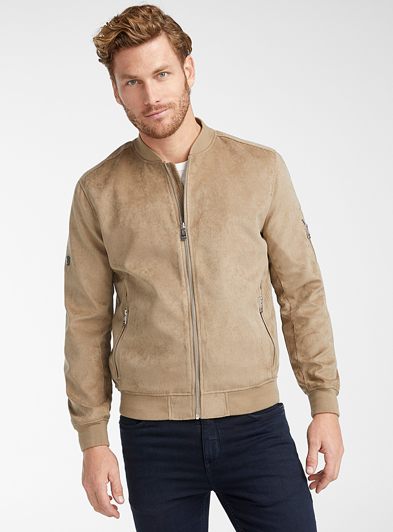 Point Zero Light Brown Perforated faux-suede bomber jacket for men