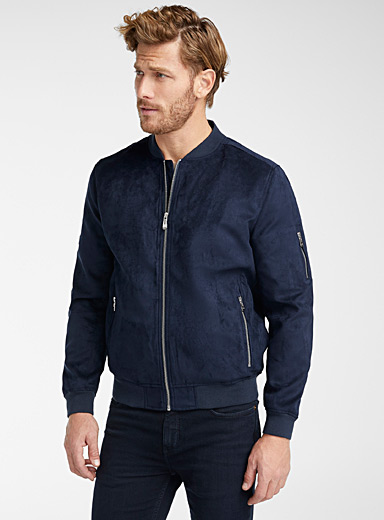 Point Zero Marine Blue Perforated faux-suede bomber jacket for men