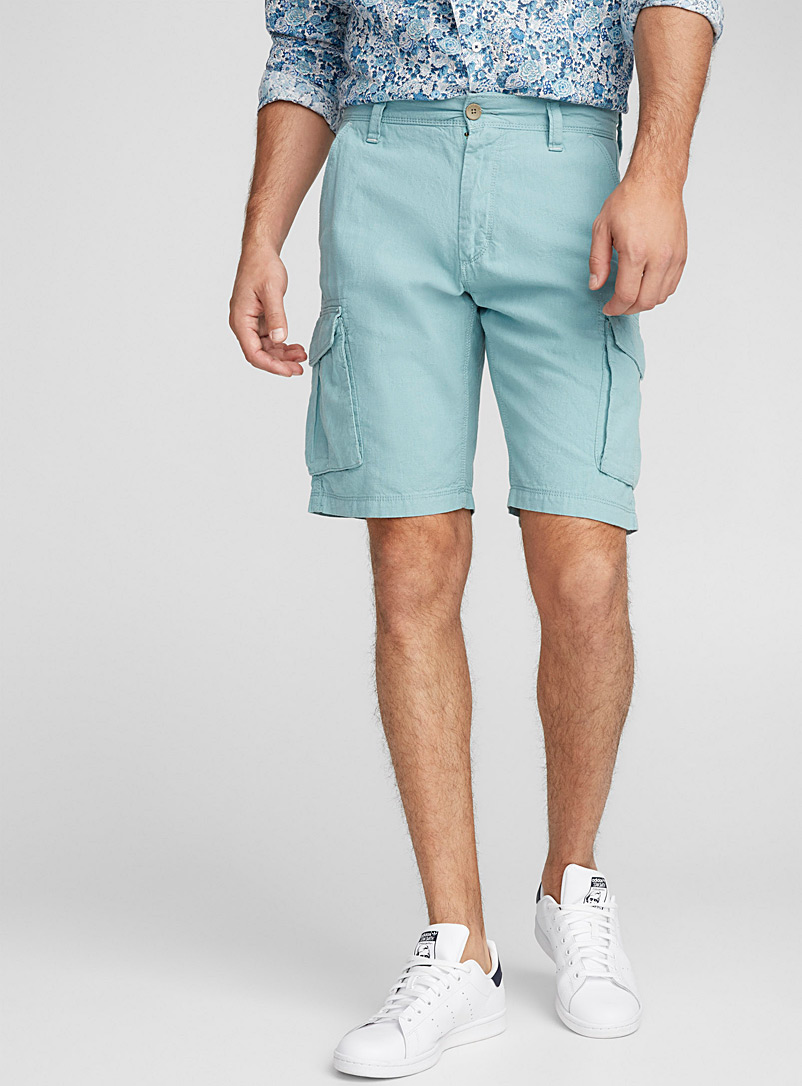 Cotton-linen cargo Bermudas - Bermudas - Kelly Green
