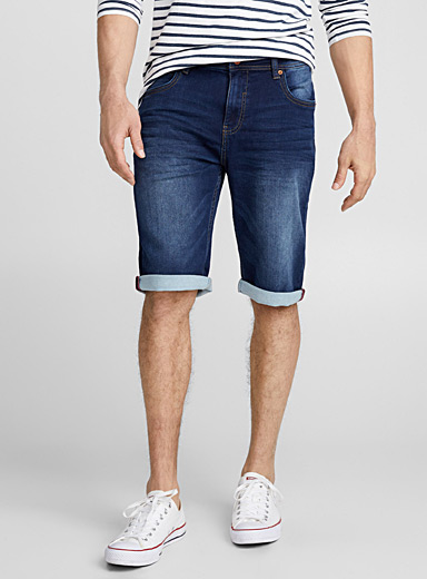Indigo denim terry Bermudas