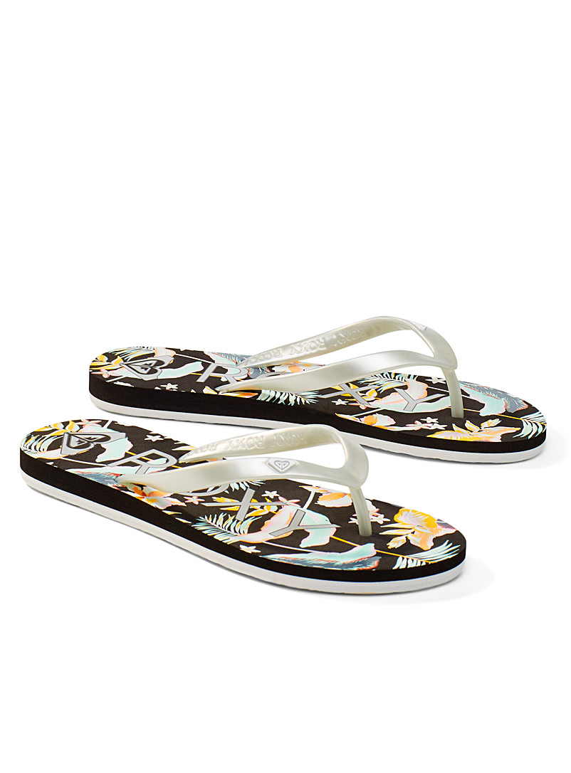 Roxy Patterned Black Tahiti flip-flops for women