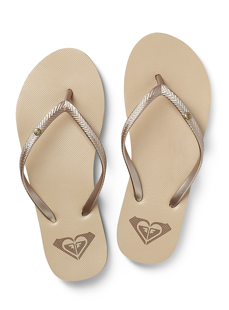 Roxy Cream Beige Bermuda flip-flops for women