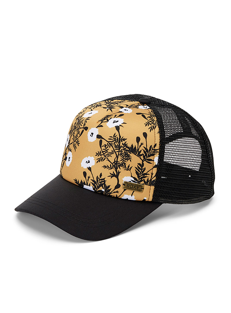 Roxy Patterned Yellow Water Come Down trucker cap for women