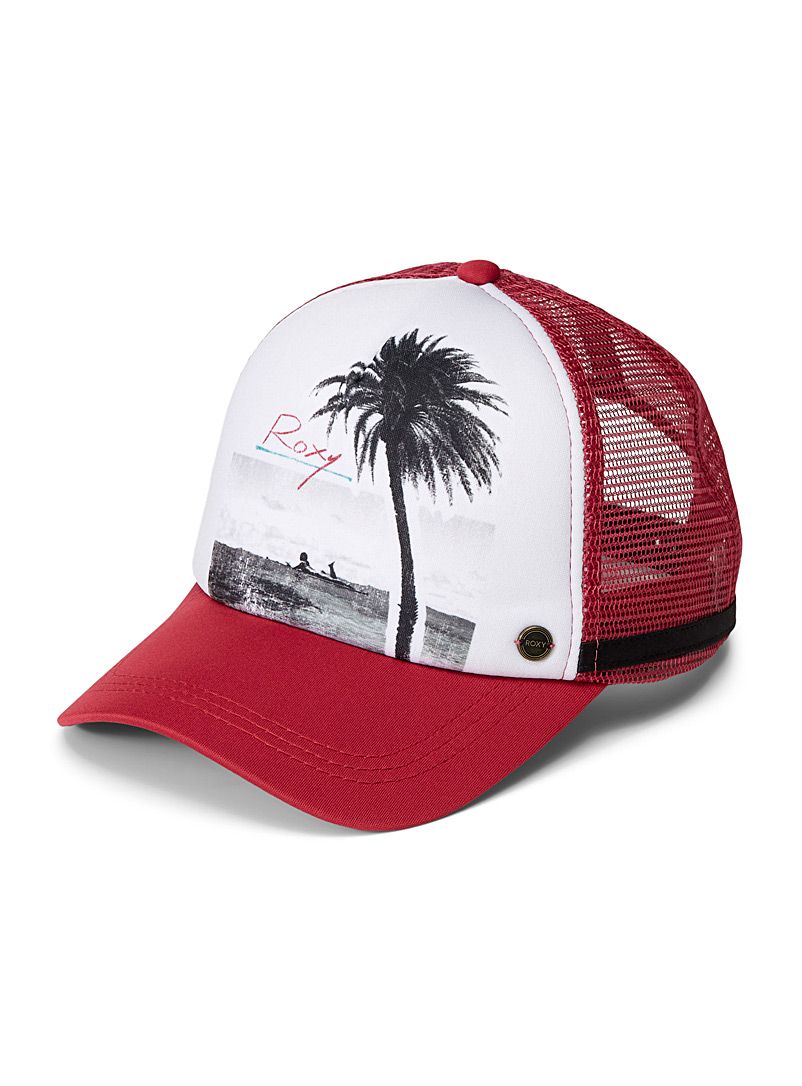 Roxy Patterned Red Dig This mesh trucker cap for women