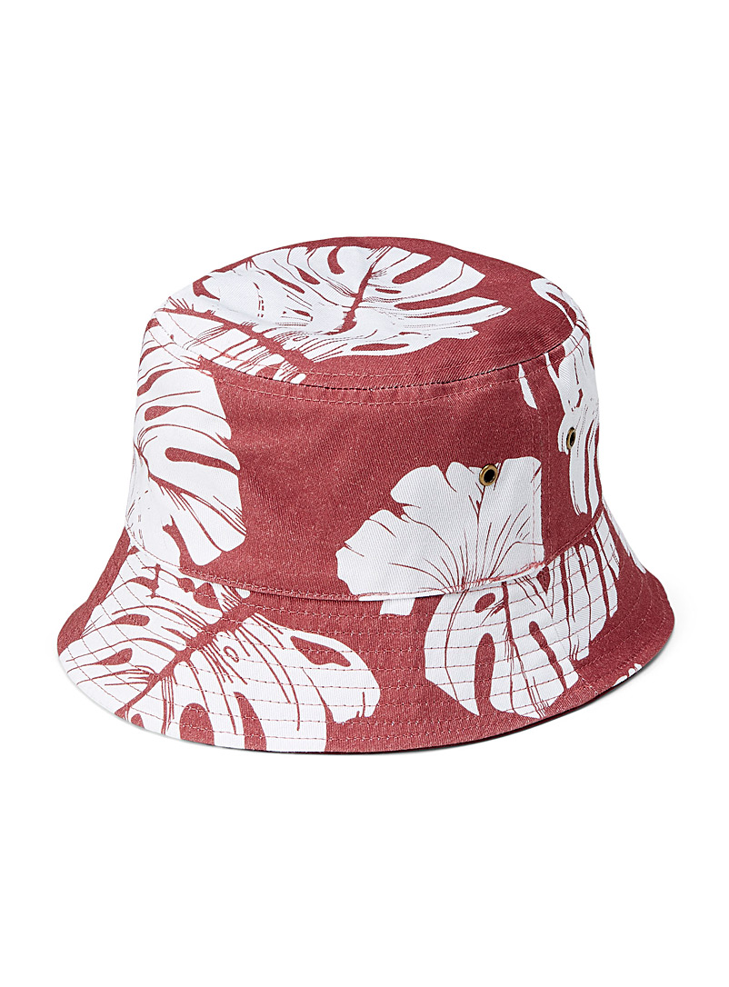 Roxy Patterned Red Retro hibiscus print bucket hat for women