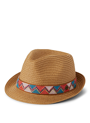 Braided-ribbon soft straw fedora