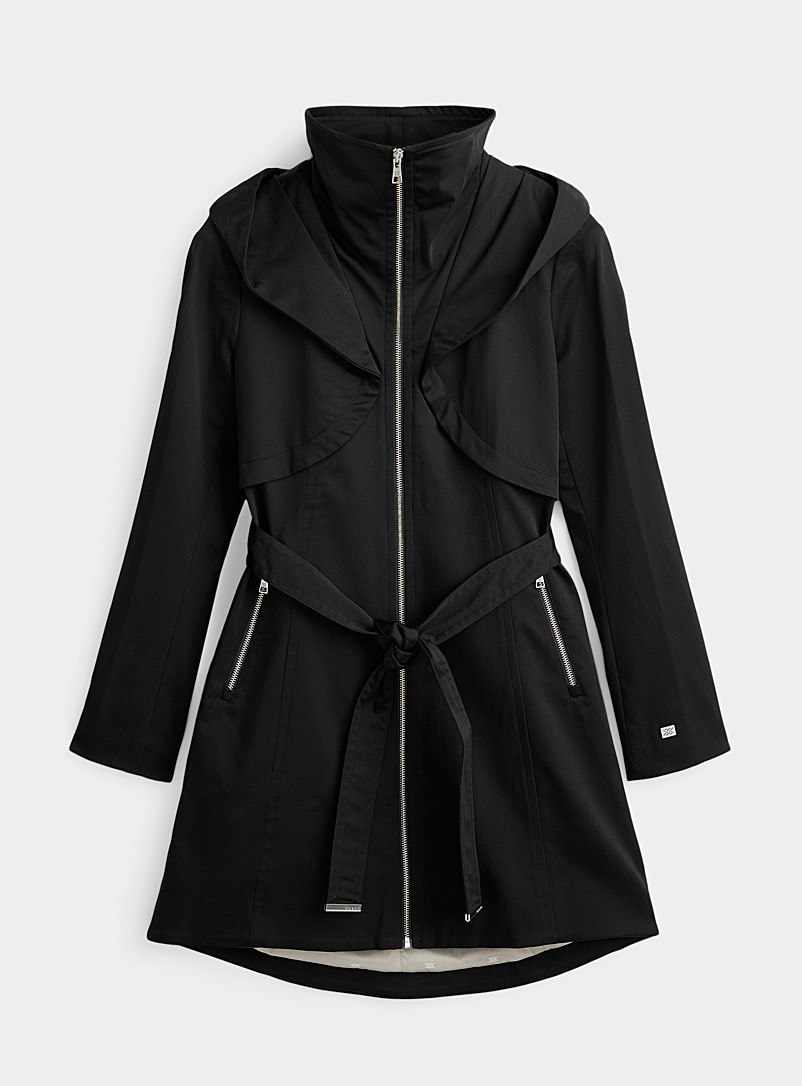 Soia & Kyo Black Arabella hooded trench coat for women