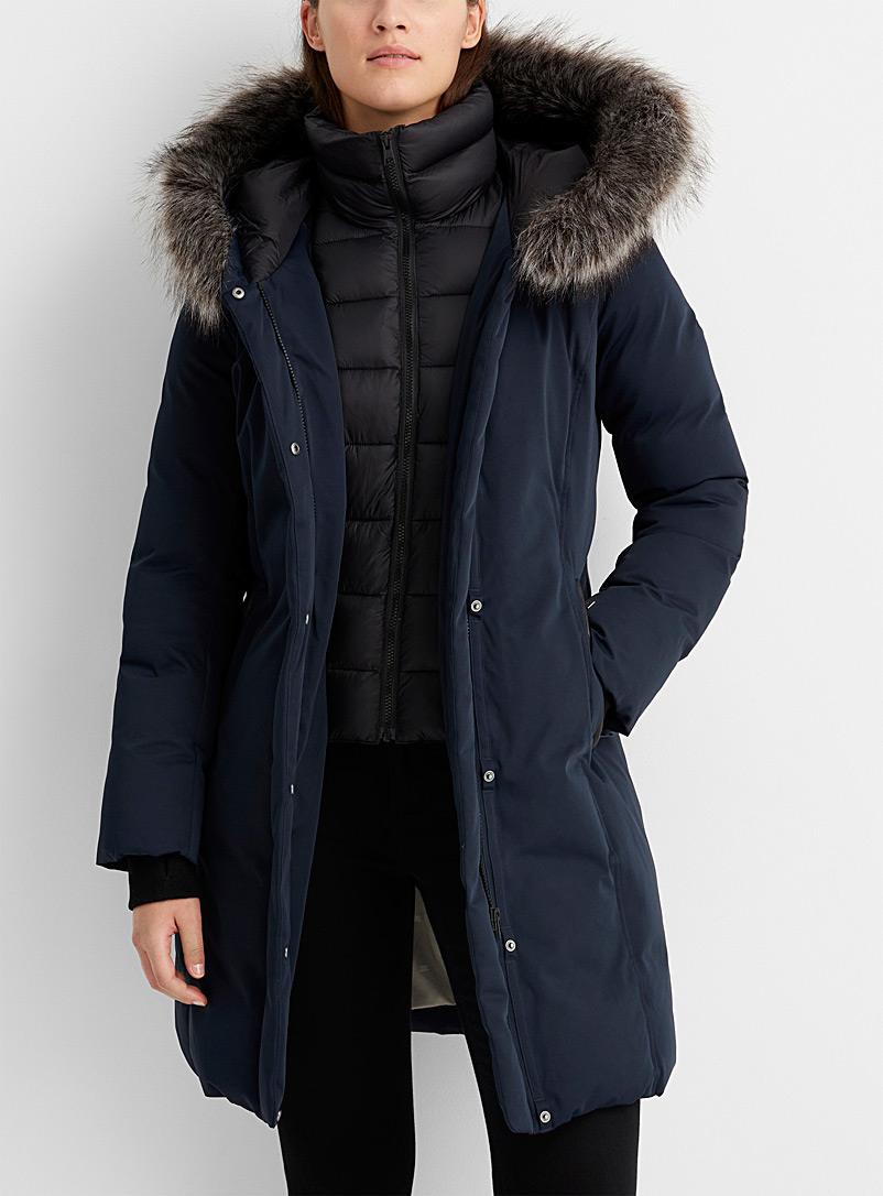 Black Flerida quilted-collar parka