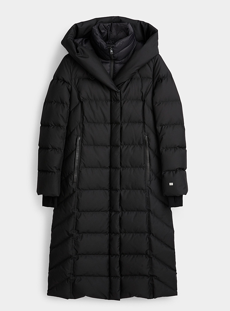 Soia & Kyo Black Talyse long quilted parka for women