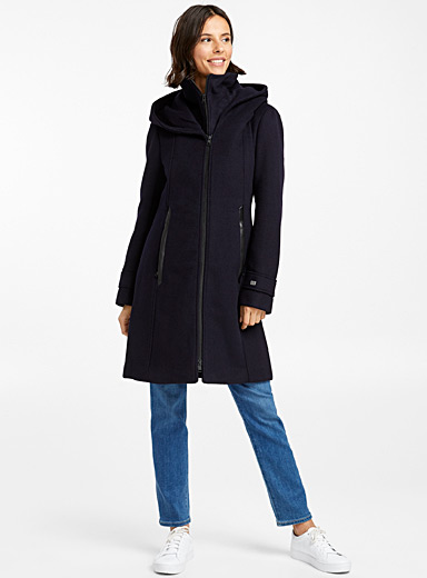 Billa high neck hooded coat