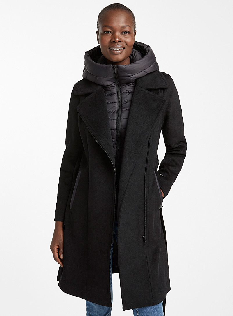Quilted hood wool coat - Quilted and Down Jackets - Black