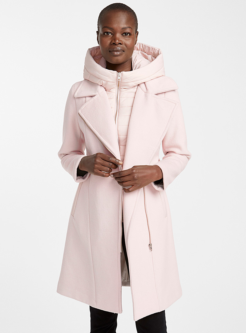 Quilted hood wool coat - Quilted and Down Jackets - Ivory White