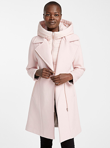 Quilted hood wool coat