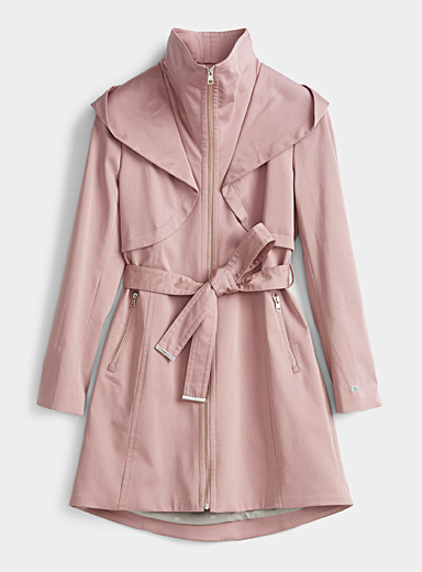 Soia & Kyo Dusky Pink Arabella hooded trench coat for women