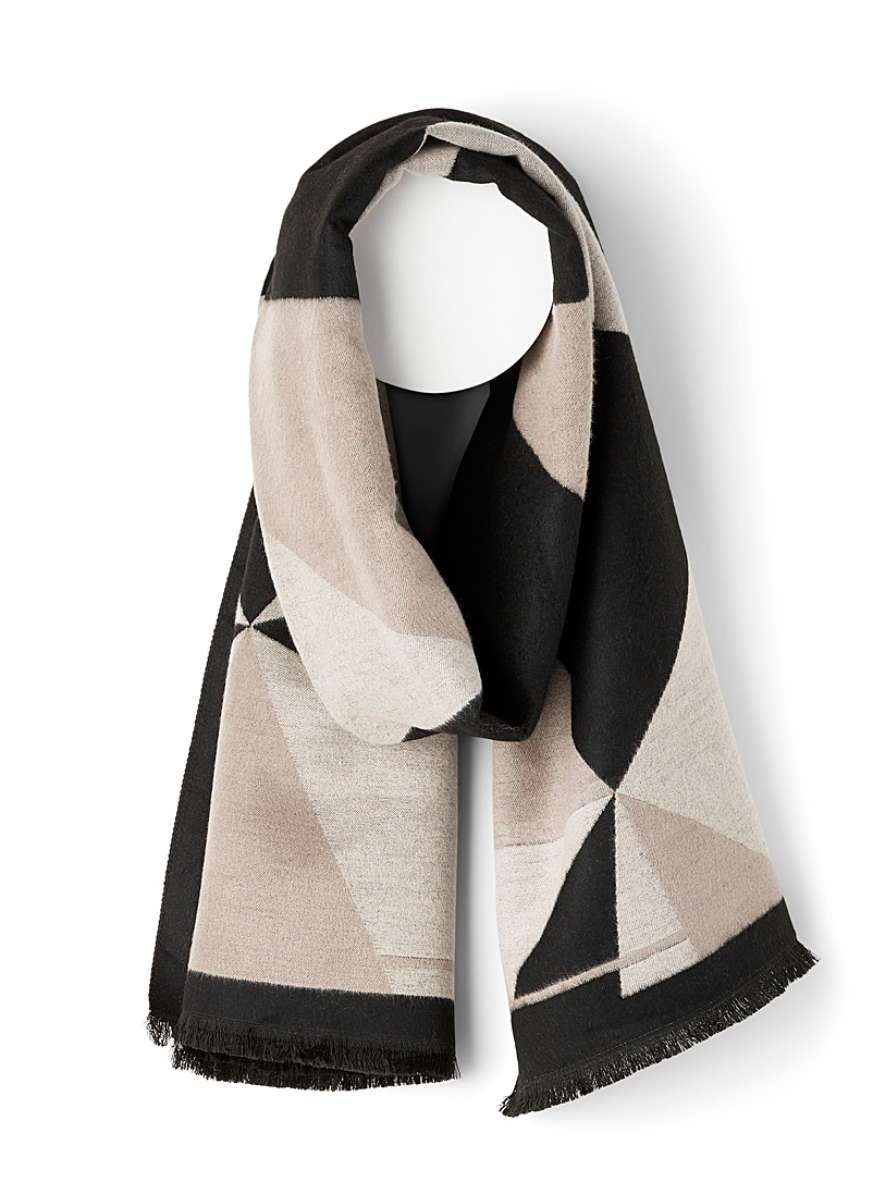 Soia & Kyo Patterned Black Geo tones scarf for women
